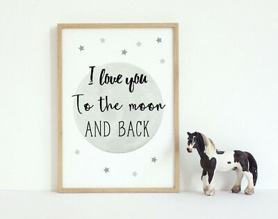 Moon and Back Kids Room Quote Art Print Black & White Typography Poster 6x4-A3