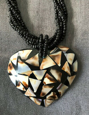 Brown Heart Shell Pendant with Twisted Bead Chain -Hand Crafted- Great Gift!