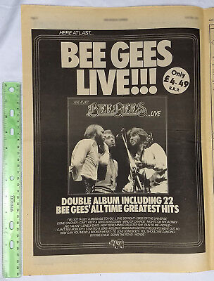 BEE GEES full page print ad Here At Last Live 1977 vintage