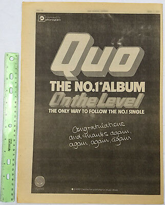 STATUS QUO full page print ad Congratulations for #1 Album On The Level 1975