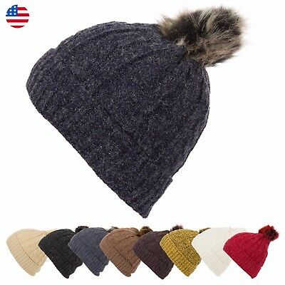 baf9e072872 Women s Faux Fur Pom Pom Lined Knitted Beanie Winter Warm Hat Cool Twisted  Cable