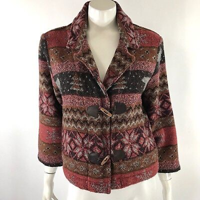 Ivy Living Jacket Womens Size Small Winter Toggle Bear Red Brown Snowflake Coat