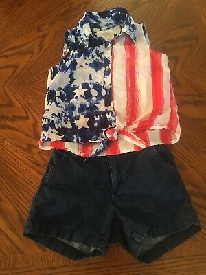 Sz 8 Girls Justice 4th Of July Outfit Tank Shorts