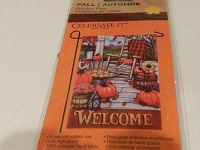 "Celebrate It! - ""WELCOME HARVEST"" FALL GARDEN FLAG 12"" X 18"" NIP"