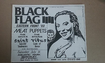Black Flag -  Original vintage punk flyer from Los Angeles - postmarked 1983
