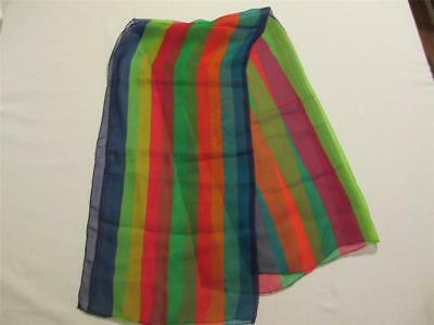 "Vintage Multi Colored Striped Sheer Chiffon 39"" x 19"" Scarf"