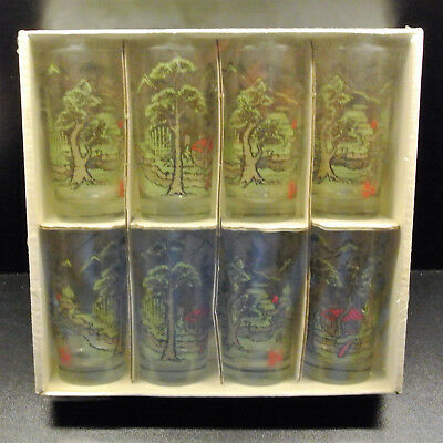 Vintage Libbey Informals Set Teahouse Tumblers New in Box Japanese Pagoda Garden