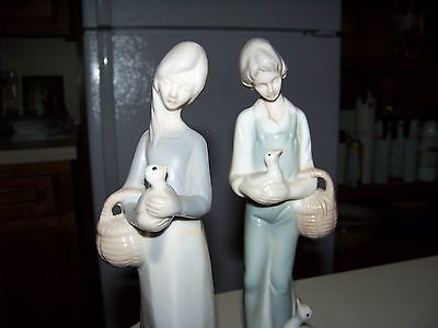 Vintage Ceramic Boy And Girl With Geese Figurine Figure goose duck basket