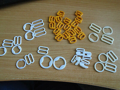 42 pieces Rings & Sliders for bra reapirs. Plastic: Various sizes & colours.