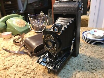 Antique Vintage c1921 Eastman Kodak No 1A Folding Camera in Leather Case
