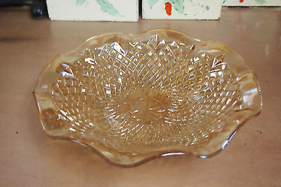 """Vintage Peach  Amber Carnival glass dish – 11"""" across"""