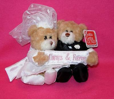Gund BRIDE AND GROOM Plush Cake Topper ALWAYS AND FOREVER