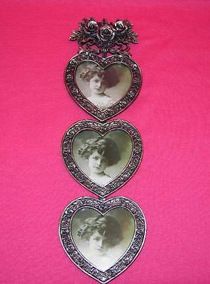 Victorian Metal HEARTS AND ROSES Triple PHOTO FRAME