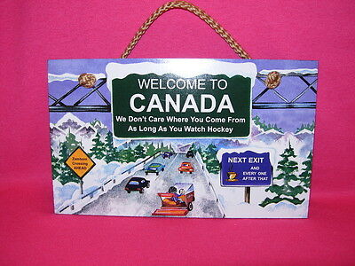 Highland Graphics WELCOME TO CANADA  Hanging Wall Decor  Hockey Lovers