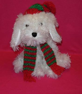 Gund WAGNER White Dog with Christmas Scarf New PLUSH TOY