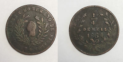 Mexico State Copper - 1864 1/4 Real Sinaloa, with dot after date - KM363