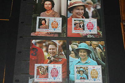 Tuvalu 1986 Queen Elizabeths 60Th Birthday Minature Sheets X 4 Very Fine M/n/h