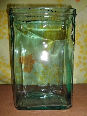 Antique Battery Jar Aquarium Terrarium Prepper Repurpose Green Embossed W 7 3