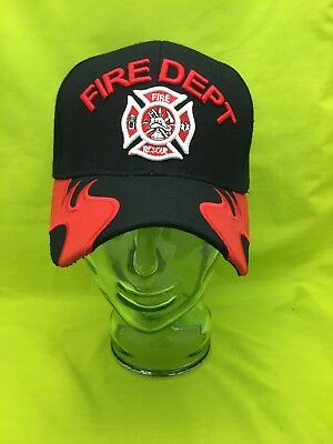 NEW Embroidered Fire Dept Maltese Cross Black Hat Red Flames Cap