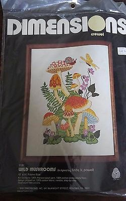 Vtg 1980 Dimensions 1191 crewel embroidery kit Linda Powell Wild Mushrooms NEW