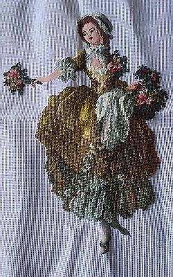 Vtg Victorian flower girl preworked needlepoint petit point beautiful 15x20 tags