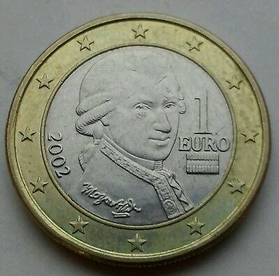 Austria 1 Euro 2002. KM#3088. One Dollar coin. Bi Metallic
