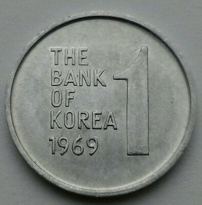 Korea South 1 Won 1969. KM#4a. Aluminum One Dollar coin. Rose of Sharon Flowers