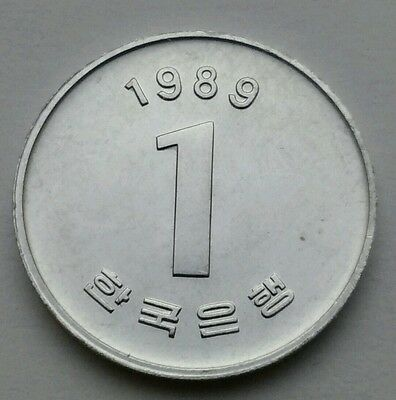 Korea South 1 Won 1989. KM#31. Aluminum One Dollar coin. Rose of Sharon Flowers