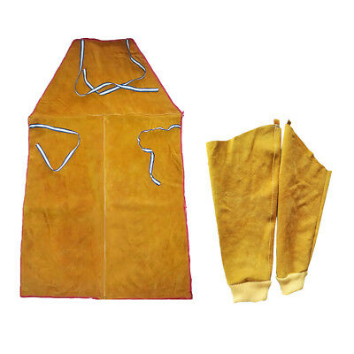 Welder Apron Heat Insulation Cowhide Leather +1 Pair Welding Sleeves Cuffs