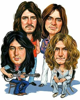 Led Zeppelin Stairway To Heaven Caricature 70's Rock Sticker or Magnet