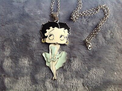 "Betty Boop Pendant Necklace Enamel Articulated silver tone 46"" Chain"