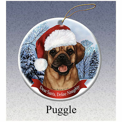 Puggle Howliday Porcelain China Dog Christmas Ornament