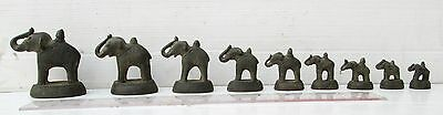 MAGNIFICENT! Opium Weight Set 9 Bronze Trumpeting Regal Elephants