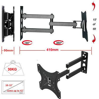 "LCD LED TV Wall Mount Bracket for 10-32"" Inch Screen Tilting Swivel up to 30kg"