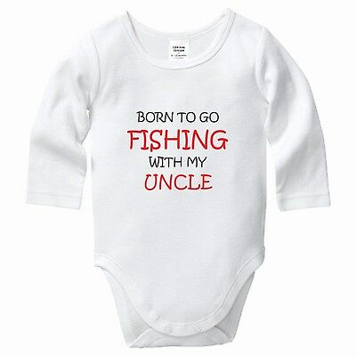 Born to Go Fishing with my Uncle, Babygrow, Bodysuit, Romper, Baby clothes