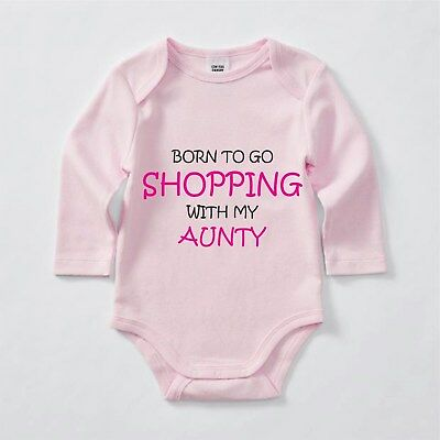 Born to Go Shopping with my Aunty, Babygrow, Bodysuit, Romper, Baby clothes