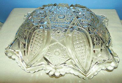 Vintage Nucut No. 536 aka Star and Cane Clear Pressed Glass Fruit Bowl 1940's