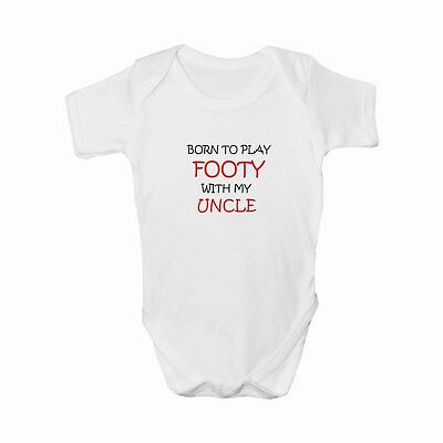 Born to Play Footy with my Uncle, Babygrow, Bodysuit, Romper, Baby clothes