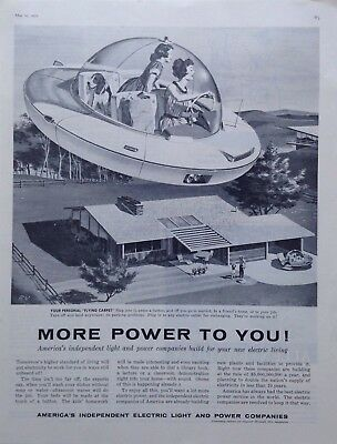 1950 Futuristic Flying Car AMERICA INDEPENDENT LIGHT & POWER Co Vintage PRINT AD