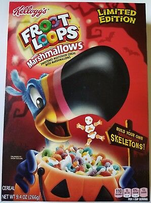 NEW Kellogg's Froot Loops with Marshmallow Skeletons Limited Edition Free Shippi
