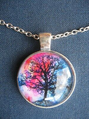 """Silver Tree of Life """"Spring"""" Metal Pendant Necklace Cosmic"""
