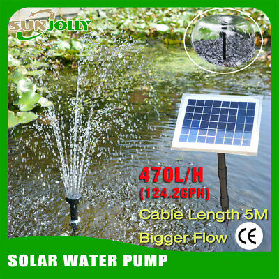 5W 12V 470L/H Solar submersible water pump fountain pool kit garden irrigation