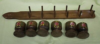 Retro kitsch Vintage egg cups 6x timber in stand frame wall mount hand painted