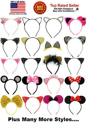 Pussy Cat Ears Mouse Ears Rhinestones Lace Sequins Costume Headband Hair Band