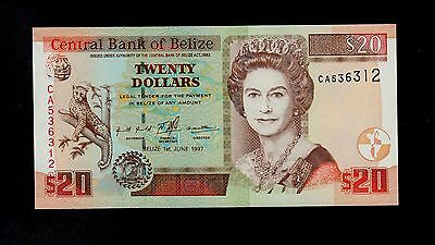 BELIZE   20 DOLLARS  1997  CA PICK # 63a  UNC LESS.