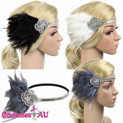 1920s Headband Feather Vintage Bridal 20s 20's Gatsby Flapper Headpiece Gangster