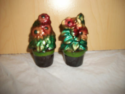 Vintage Redware Flower Pot Salt & Pepper Shakers - Made in Japan