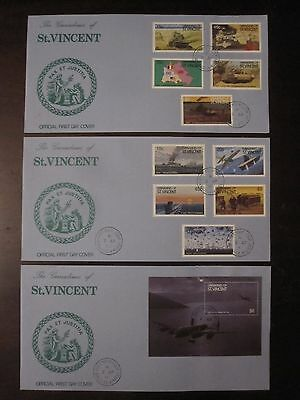 Grenadines of St. Vincent 1990 50th Anniversary of WW2 3 FDC set, army, war