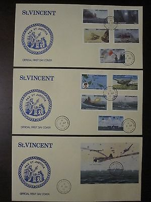 St. Vincent 1990 History of WW2 3 FDC set, army, war