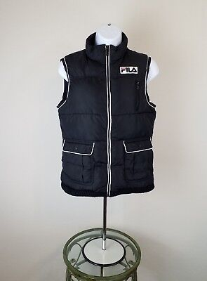 Fila Sport Womens Puffer Bubble Vest Size Small Black Quilted Full Zip